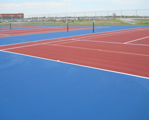 A resurfaced tennis court in Huxley Iowa