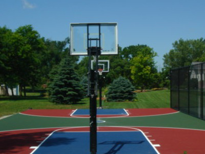 A resurfaced basketball court