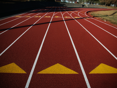 A Resurfaced Running Track in Red